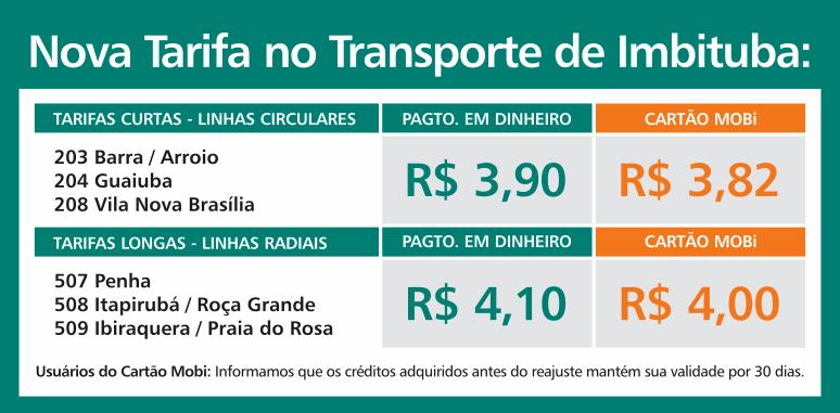 Nova Tarifa no Transporte de Imbituba